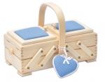 Шкатулка для рукоделия, бук, 2 этажа, светлый, голубой с игольницей и сердечком