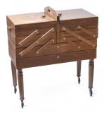 Шкафчик для рукоделия на колесиках, 3 этаж, многоуровневый, коричневый