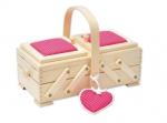 Шкатулка для рукоделия, бук, 2 этажа, светлый, с малиновой игольницей и сердечком