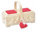 Шкатулка для рукоделия, бук, 2 этажа, светлый, с красной игольницей и сердечком